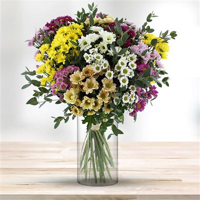 Bouquet de santinis multicolores et son vase - bebloom