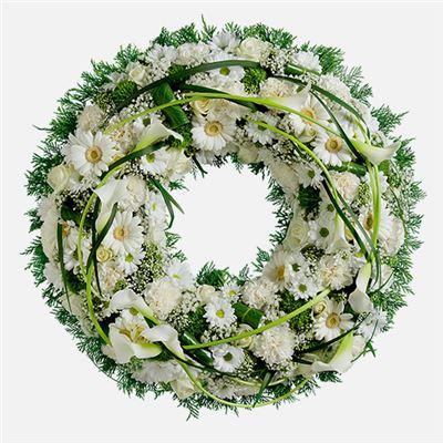 Couronne funéraire blanche - bebloom