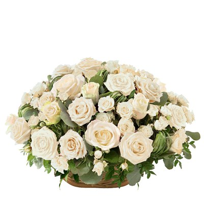 Panier de roses blanches - bebloom
