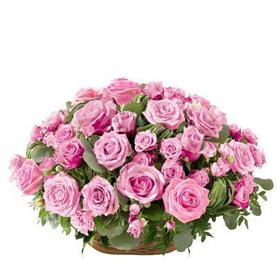 Panier de roses rose - bebloom