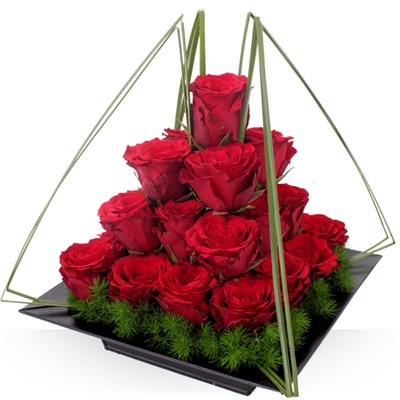 Pyramide de roses rouges - bebloom
