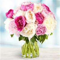 Bouquet de pivoines et son vase