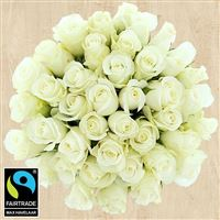 Bouquets ronds : 40 roses blanches - bebloom