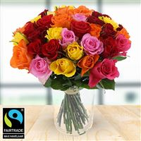 40 roses multicolores et son vase - bebloom