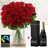 40 roses rouges + champagne - bebloom