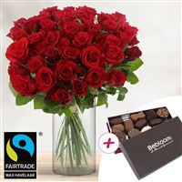 40 roses rouges + chocolats - bebloom