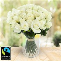 Image of 50 roses blanches + vase