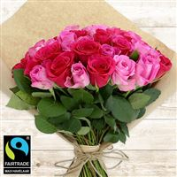 Bouquets ronds : 50 roses en camaïeu rose - bebloom