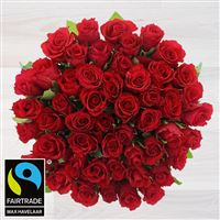 Bouquets ronds : 50 roses rouges - bebloom