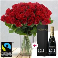 Image of 50 roses rouges + champagne