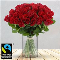 50 roses rouges + vase - bebloom