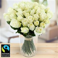 Image of 60 roses blanches + vase