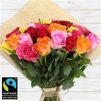 Bouquets ronds : 60 roses multicolores - bebloom