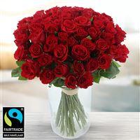 60 roses rouges + vase - bebloom