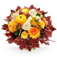 Splendide création fleurie aux couleurs d'automne, tels les feuillages q...