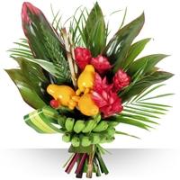 Bouquet de fleurs exotiques, compos�s de fleurs et feuillages des �les tropic...