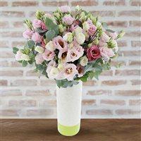 Bouquet de lisianthus roses et son vase