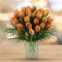 Bouquet de tulipes Irène XXL et son vase - bebloom