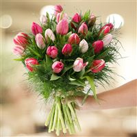 Bouquet de tulipes roses camaieu - bebloom