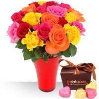 Profitez de cette offre 3 en 1 avec roses, vase et chocolats pour offrir un c...