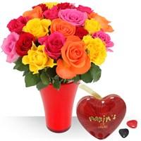 Offre 3 en 1 avec fleurs, vase et chocolats. Profitez de cette offre découver...