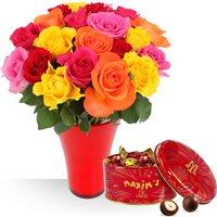 Offre 3 en 1 avec fleurs, vase et chocolats. Profitez de cette offre petit pr...