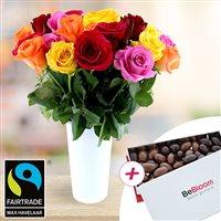 Profitez de cette offre 3 en 1 avec roses, vase et chocolats pour offrir un cadeau étonnant : une brassée de 20 roses accompagnée d'un joli vase design et d'une boîte élégante d'amandes caramélisées enrobées de chocolat griffée le Fleuriste Gourmand. <br />Nos roses sont issues du commerce équitable, <b>labélisées Fairtrade/Max Havelaar</b>, garantissant le respect de l'environnement et des droits des travailleurs.