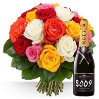 Une idée cadeau pétillante, ce bouquet de 21 grosses roses du Kenya, simple et élégant, aux couleurs variées, accompagné d'une bouteille de champagne brut Impérial de Moët & Chandon, dans sa version Grand Vintage millésime 2009 (ou 2008 selon les stocks), sera à l'origine d'un moment subtil à partager, à offrir et à consommer avec modération…